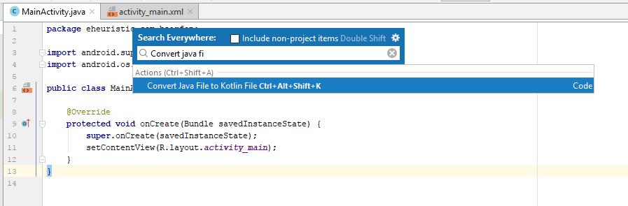 Convert Java File to Kotlin – eHeuristic